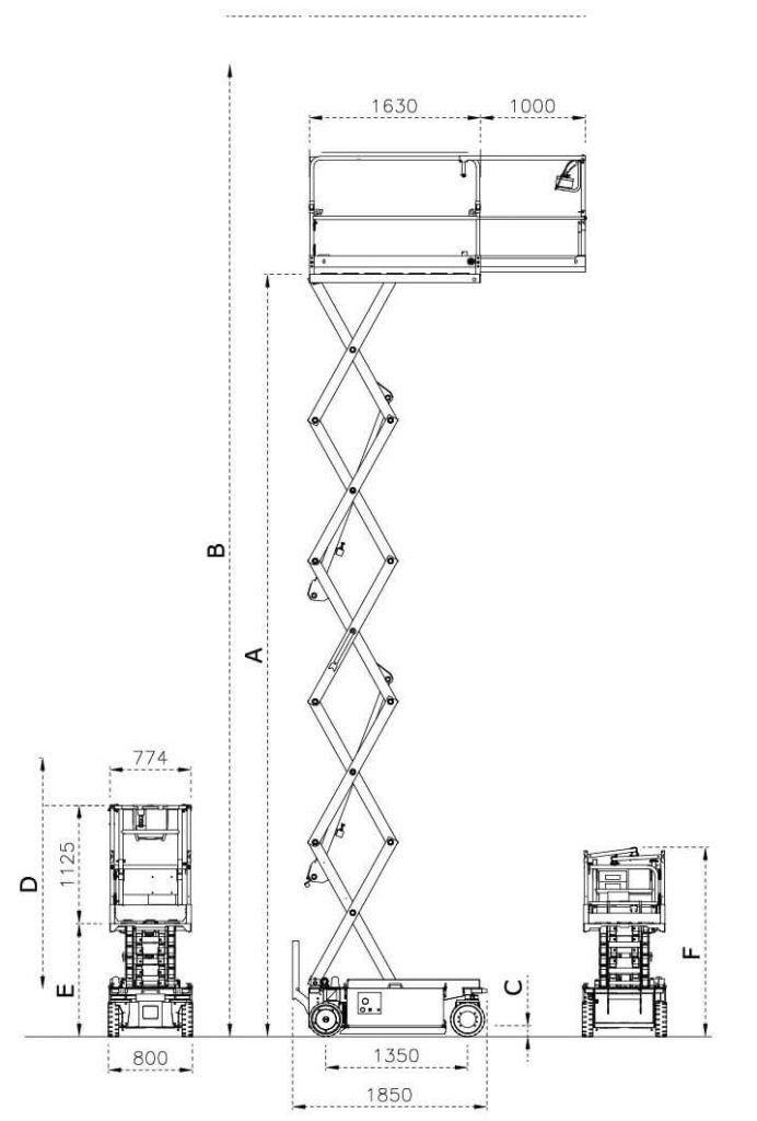 IMER 80 saksilavanostin mitat